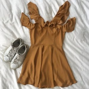 Mustard Yellow Ruffle Mini Trophy Dress